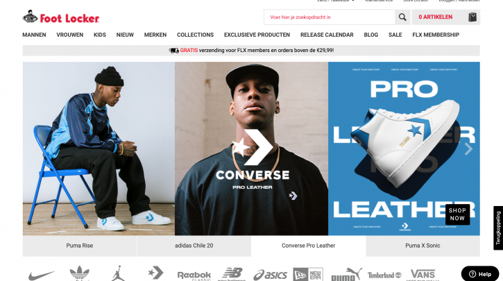 Voorpagina website Foot Locker