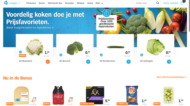 Voorpagina website Albert Heijn