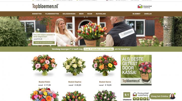 Voorpagina website Topbloemen