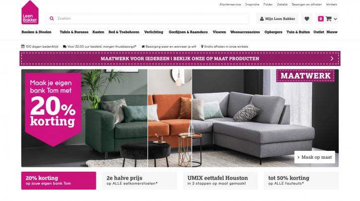 Voorpagina website Leen Bakker