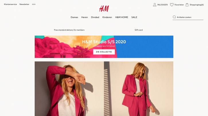 Voorpagina website H&M