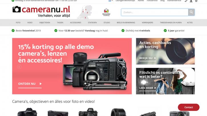 Voorpagina website CameraNU.nl