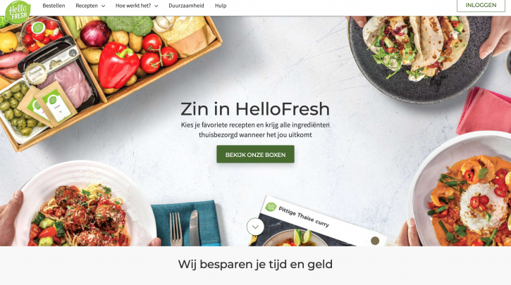 Voorpagina website HelloFresh