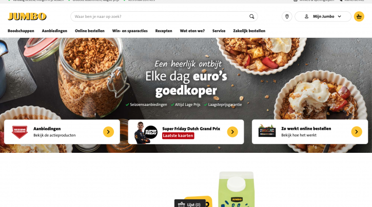 Voorpagina website Jumbo
