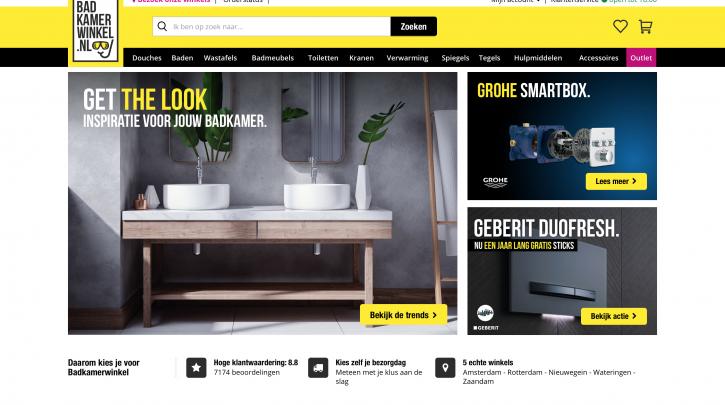 Voorpagina website Badkamerwinkel.nl