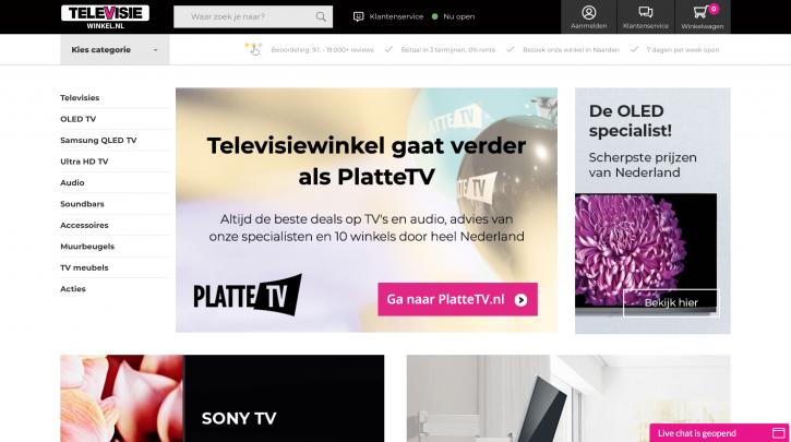 Voorpagina website Televisiewinkel.nl