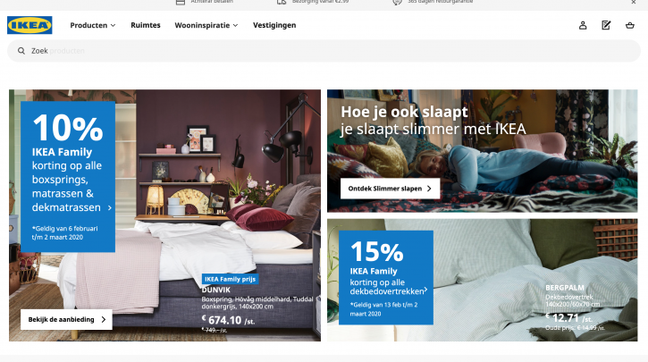 Voorpagina website Ikea