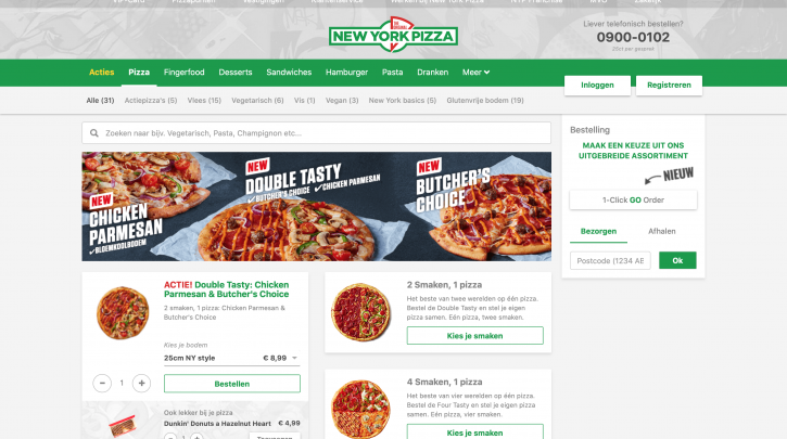 Voorpagina website New York pizza