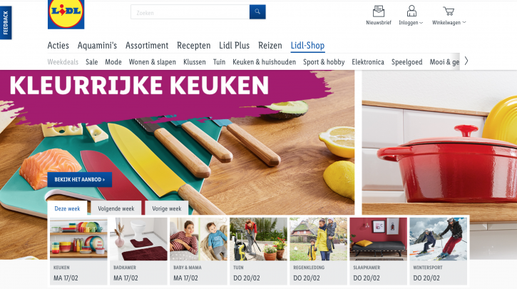 Voorpagina website Lidl