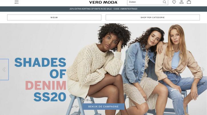 Voorpagina website Vero Moda