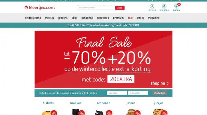 Voorpagina website kleertjes.com