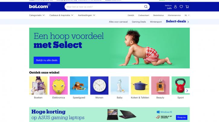 Voorpagina website bol.com
