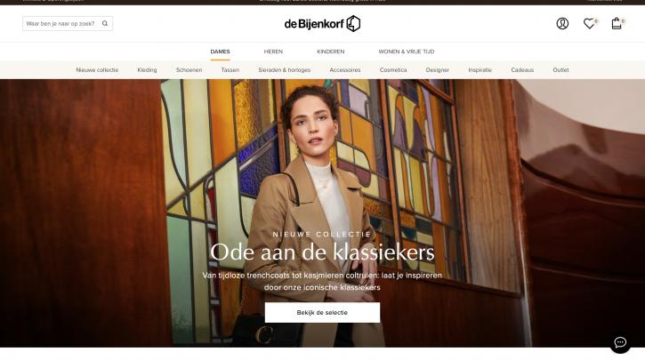 Voorpagina website de Bijenkorf