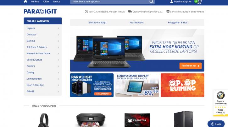 Voorpagina website Paradigit