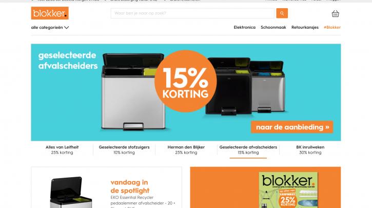 Voorpagina website Blokker