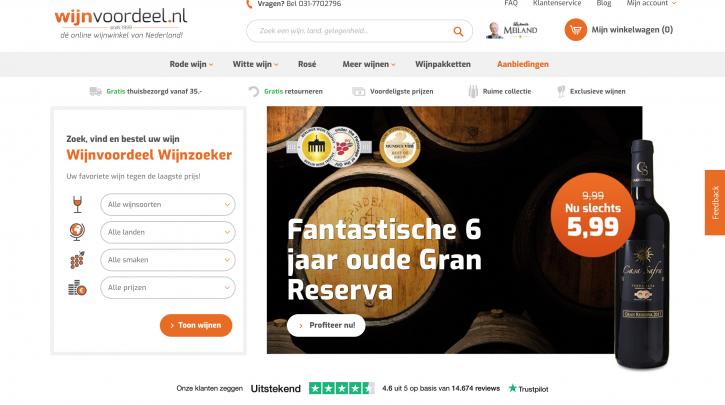 Voorpagina website Wijnvoordeel