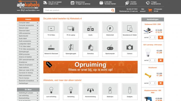 Voorpagina website Allekabels.nl