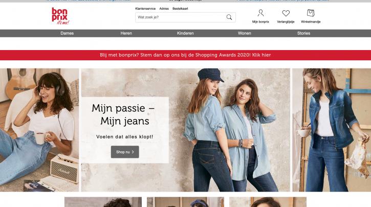 Voorpagina website Bonprix