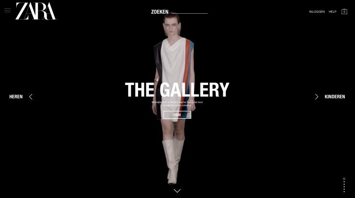 Voorpagina website Zara