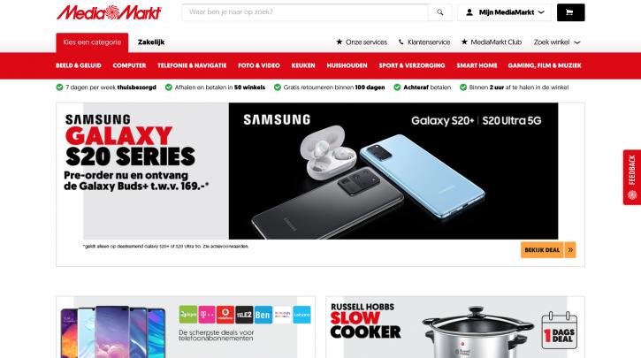 Voorpagina website Media Markt