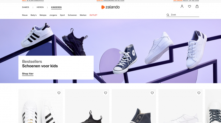 Voorpagina website Zalando