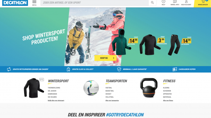 Voorpagina website Decathlon