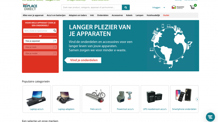 Voorpagina website ReplaceDirect