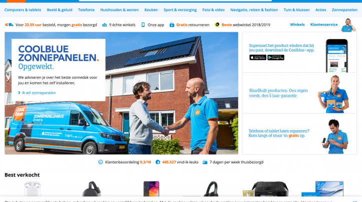 Voorpagina website Coolblue