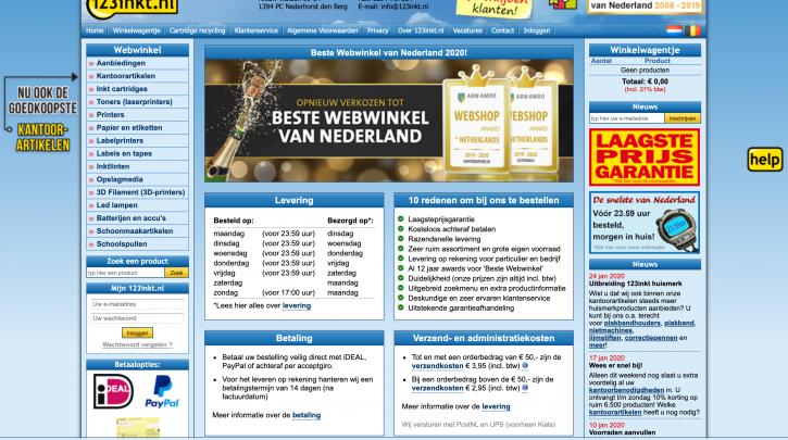 Voorpagina website 123inkt.nl