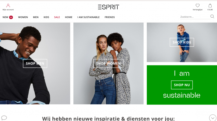 Voorpagina website Esprit
