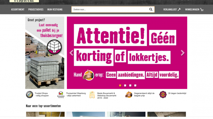 Voorpagina website Hornbach