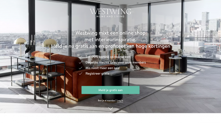 Voorpagina website Westwing Home Living