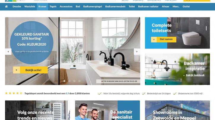 Voorpagina website Tegeldepot