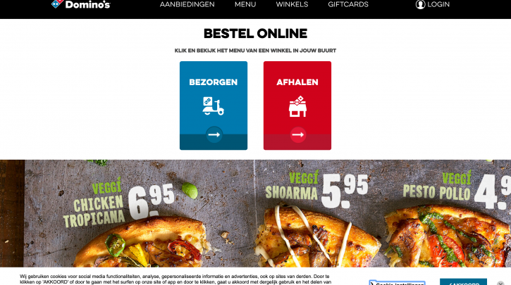 Voorpagina website Domino's Pizza