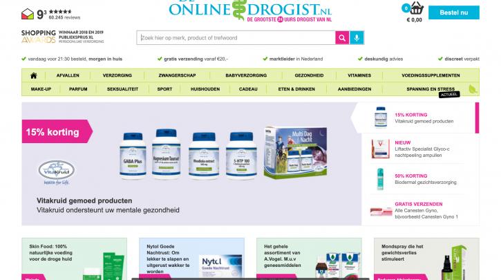 Voorpagina website De Online Drogist