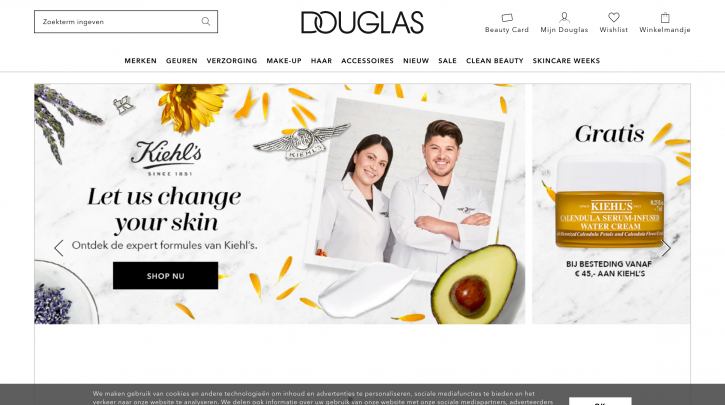 Voorpagina website Douglas